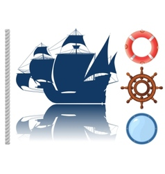 set of marine objects vector image vector image