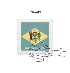 State of delaware flag postage stamp vector