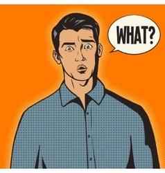 Surprised man pop art style vector image vector image