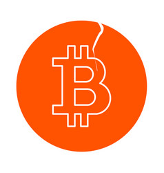 Symbol of digital crypto currency bitcoin round vector