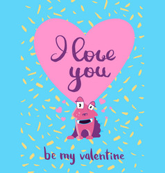 valentines day card with hearts cute vector image vector image