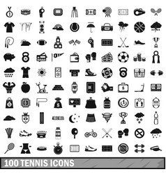 100 tennis icons set simple style vector