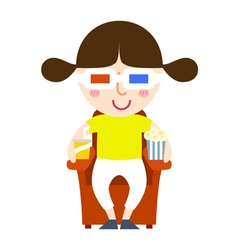 Girl see movie vector