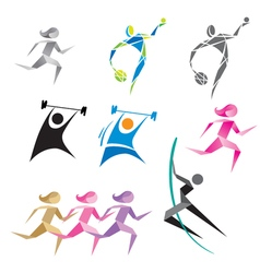 Icons of people in different sports vector