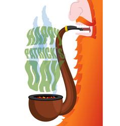 Patricks day leprechaun smokes pipe red beard vector
