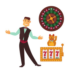 Casino gaming template poster with symbols and man vector