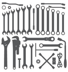 Various wrench silhouette set vector
