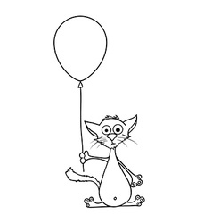 Painted cat holding a balloon in his paws vector