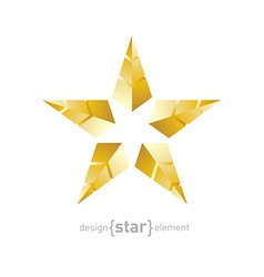 Golden star made of pyramids vector