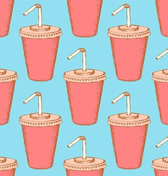 Sketch soda cup in vintage style vector