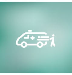 Man and ambulance car thin line icon vector