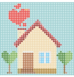 House of love with dot pattern vector