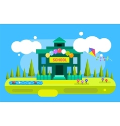 Cute cartoon school building vector