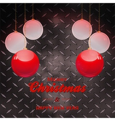 Christmas baubles and text over black metal plate vector