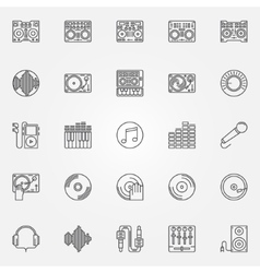 Dj linear icons set vector