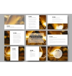 Set of 9 templates for presentation slidesgolden vector