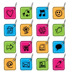 Square tag icons vector