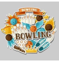 Background with bowling items image for vector