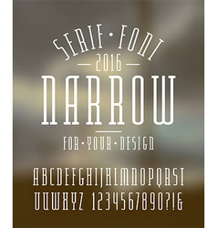 Narrow serif font and numbers vector