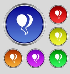 Balloon icon sign round symbol on bright colourful vector