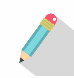 blue sharpened pencil with eraser icon flat style vector image