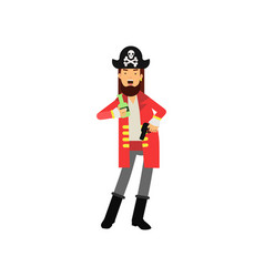 cartoon flat character of bearded pirate captain vector image