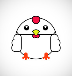 cartoon white chicken vector image
