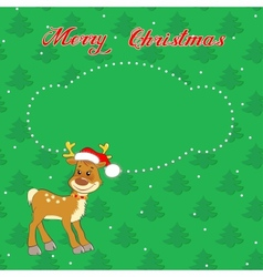 Christmas card with little deer vector image vector image