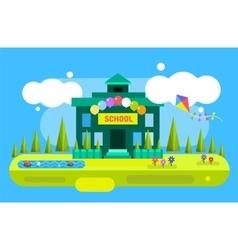 Cute cartoon school building vector