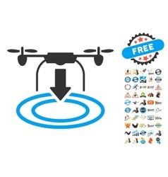 Drone Landing Icon With 2017 Year Bonus Symbols vector image vector image