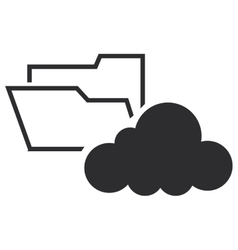 file folder and cloud icon vector image vector image