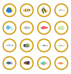fish icon circle vector image