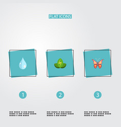 flat icons eco energy water beauty insect and vector image vector image