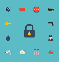 flat icons keypad armored car brick wall and vector image vector image