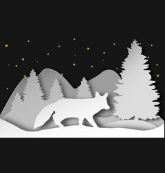 fox in the forest in layered vector image