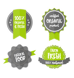 fresh organic label farm eco green sticker vector image
