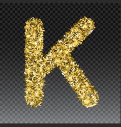 Gold glittering letter k shining golden vector