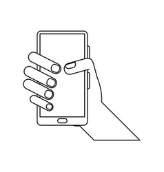 Hand holding smartphone icon image vector
