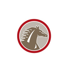Horse Head Angry Circle Retro vector image