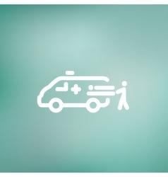 Man and ambulance car thin line icon vector image