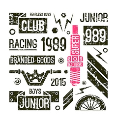 Motorcycle races club badges in retro style vector image