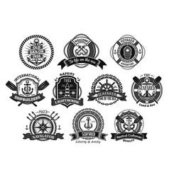 nautical seafarer marine sea sailor icons vector image vector image