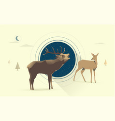 night deer love vector image vector image