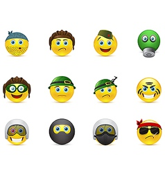 Set of images smileys with military elements vector
