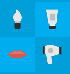 Set of simple beauty icons elements scrub lips vector