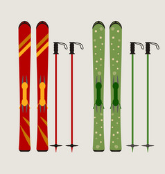 ski and ski sticks vector image vector image