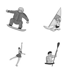 Snowboarding sailing surfing figure skating vector