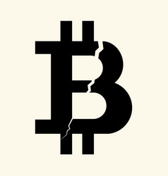 The symbol of the digital crypto currency bitcoin vector