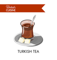 Turkish tea in unusual transparent glass with vector