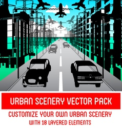 Urban scenery pack vector